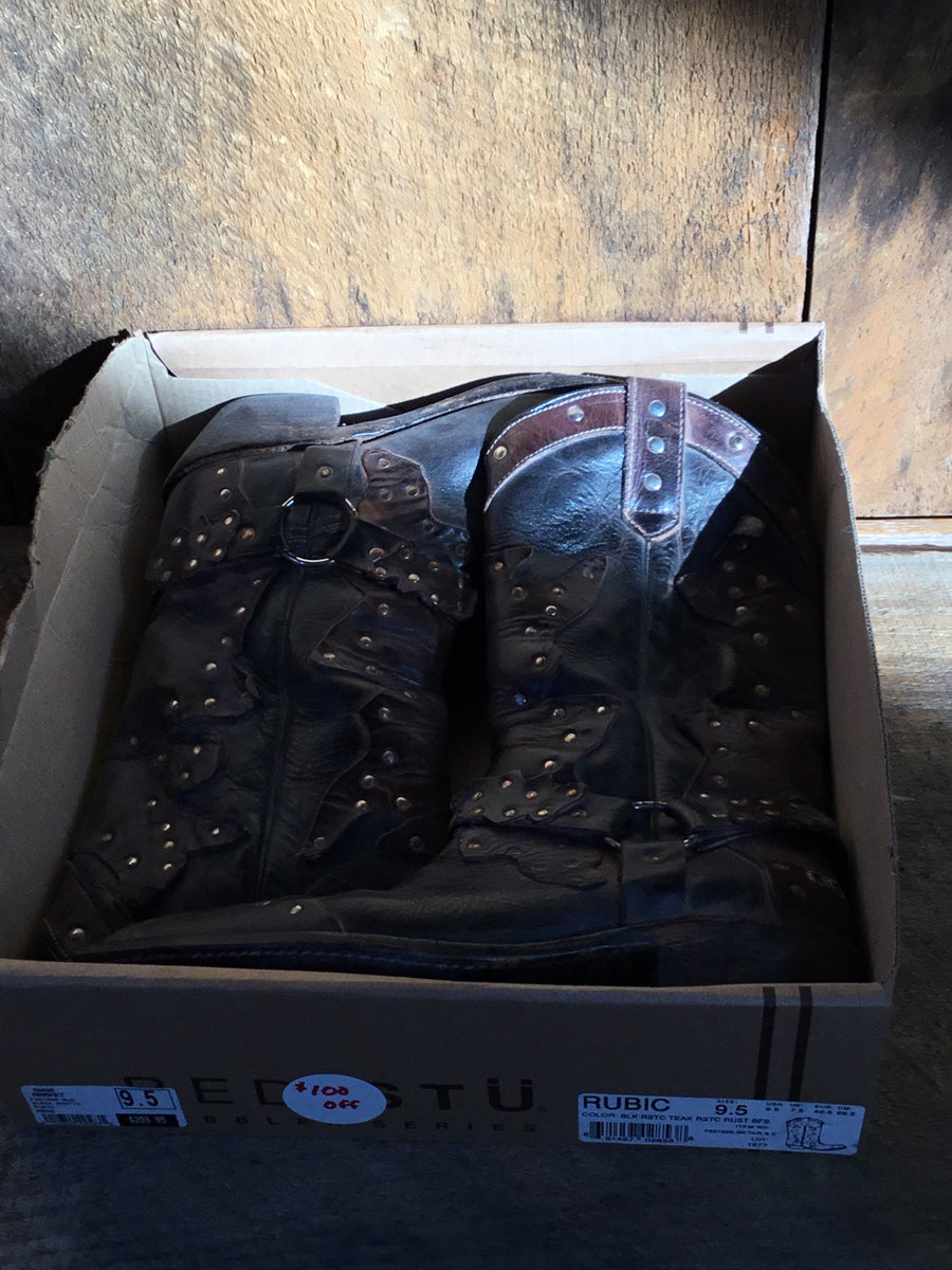 BEDSTU Brown Studded Cowboy Boots