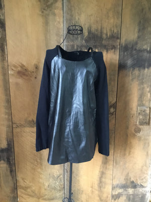 Karma Blue Faux Leather Sweater