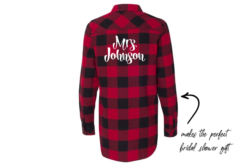 Custom Embroidered Mrs. Flannel