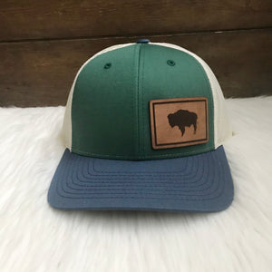 Wyoming Flag Leather Patch Spruce Navy Snapback Hat