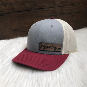 Wyoming Leather Patch Snapback Hat – Wyoming Buffalo Hat Heather Grey/ Birch/ Cardinal