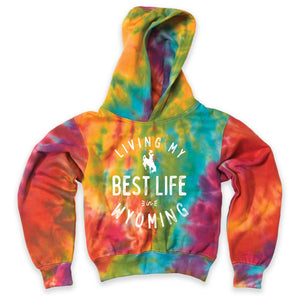 Living My Best Life in Wyoming Steamboat Youth Classic Fleece Tie Dye Hooded Sweatshirt