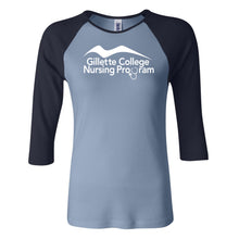Gillette College Nursing Program - Bella + Canvas - Women's Baby Rib Three Quarter Sleeve Contrast Raglan Tee