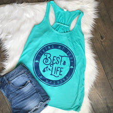 Living My Best Life in Wyoming Teal Flowy Racerback Tank
