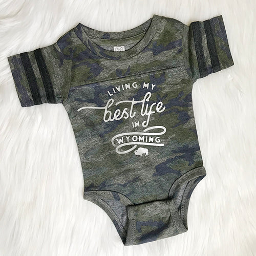 Camo Living My Best Life in Wyoming Baby Onesie
