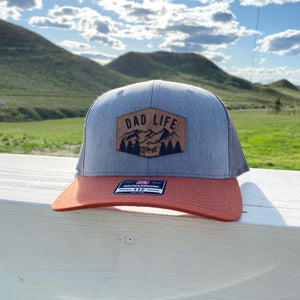 Mountain Dad Life Leather Patch Snapback Hat - Heather Grey/ Charcoal/ Dark Orange