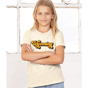 Wyoming Retro Brown and Gold Youth Tee