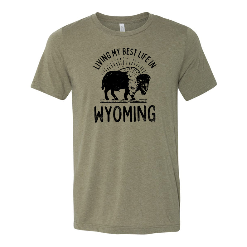 Living My Very Best Life in Wyoming Heather Olive Tee