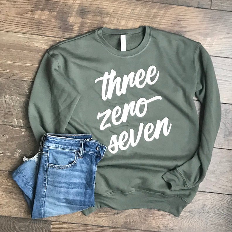 Three Zero Seven (307) Wyoming Sweatshirt in Military Green