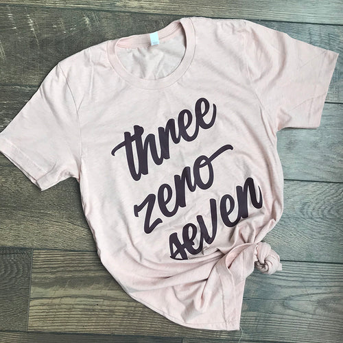 Three Zero Seven (307) Heather Peach Tee