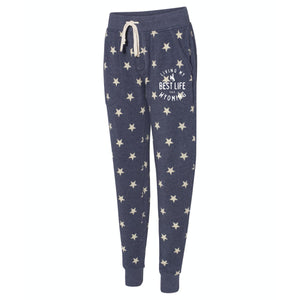 Living My Best Life in Wyoming Steamboat Navy Stars Women's Eco-Fleece Joggers