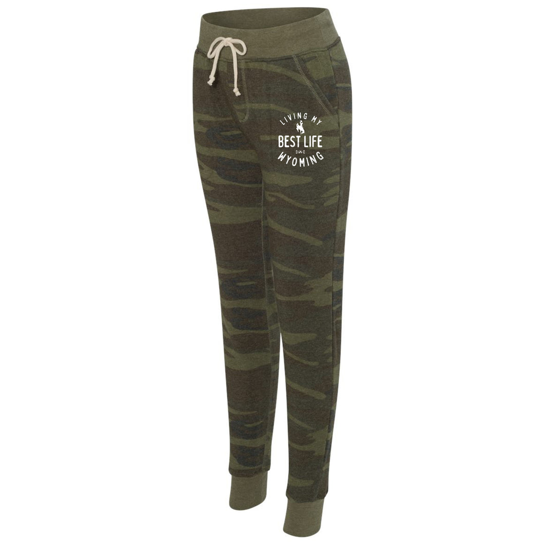 Living My Best Life in Wyoming Steamboat Camo Women's Eco-Fleece Joggers