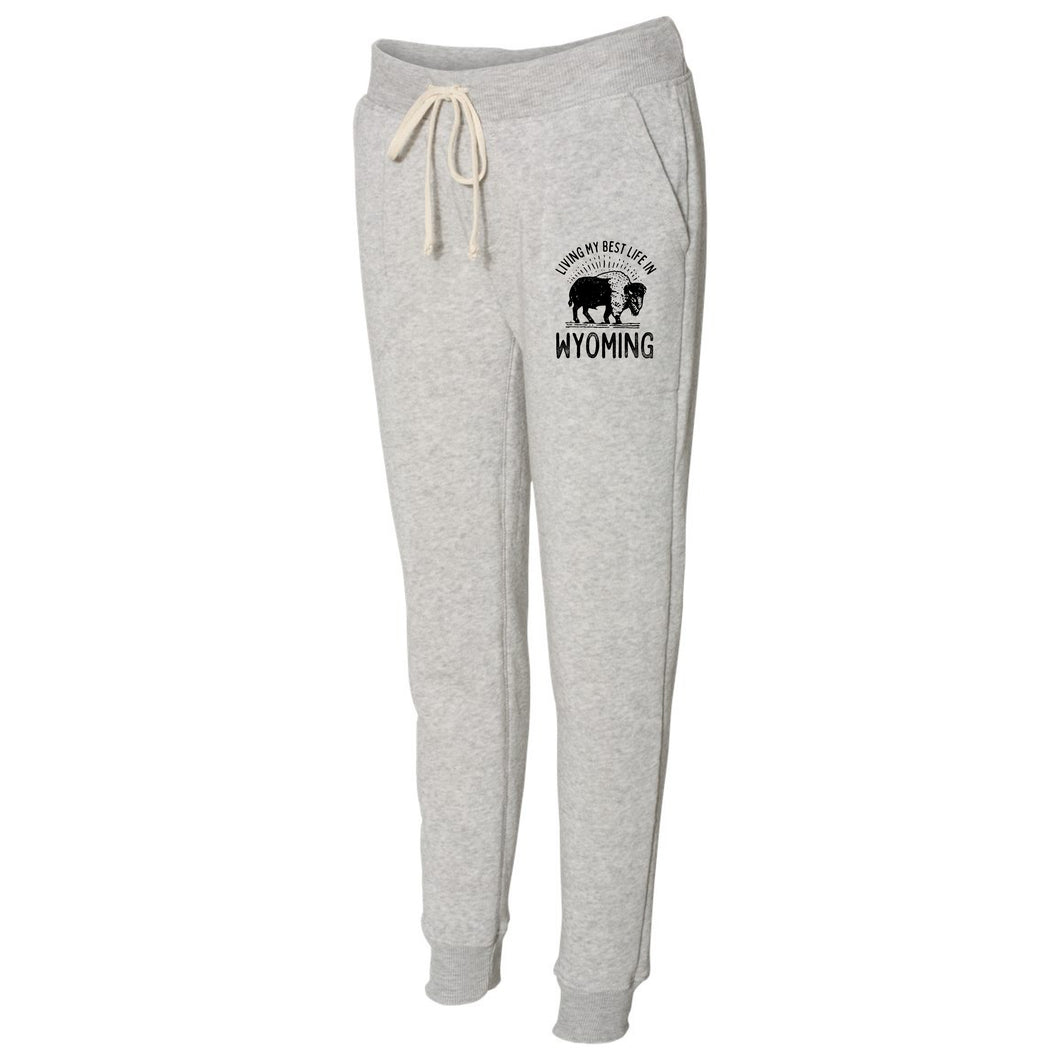 Living My Best Life in Wyoming Buffalo Light Grey Women's Eco-Fleece Joggers