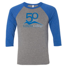 Gillette College 50 Years Bella+Canvas Unisex Three-Quarter Sleeve Baseball T-Shirt