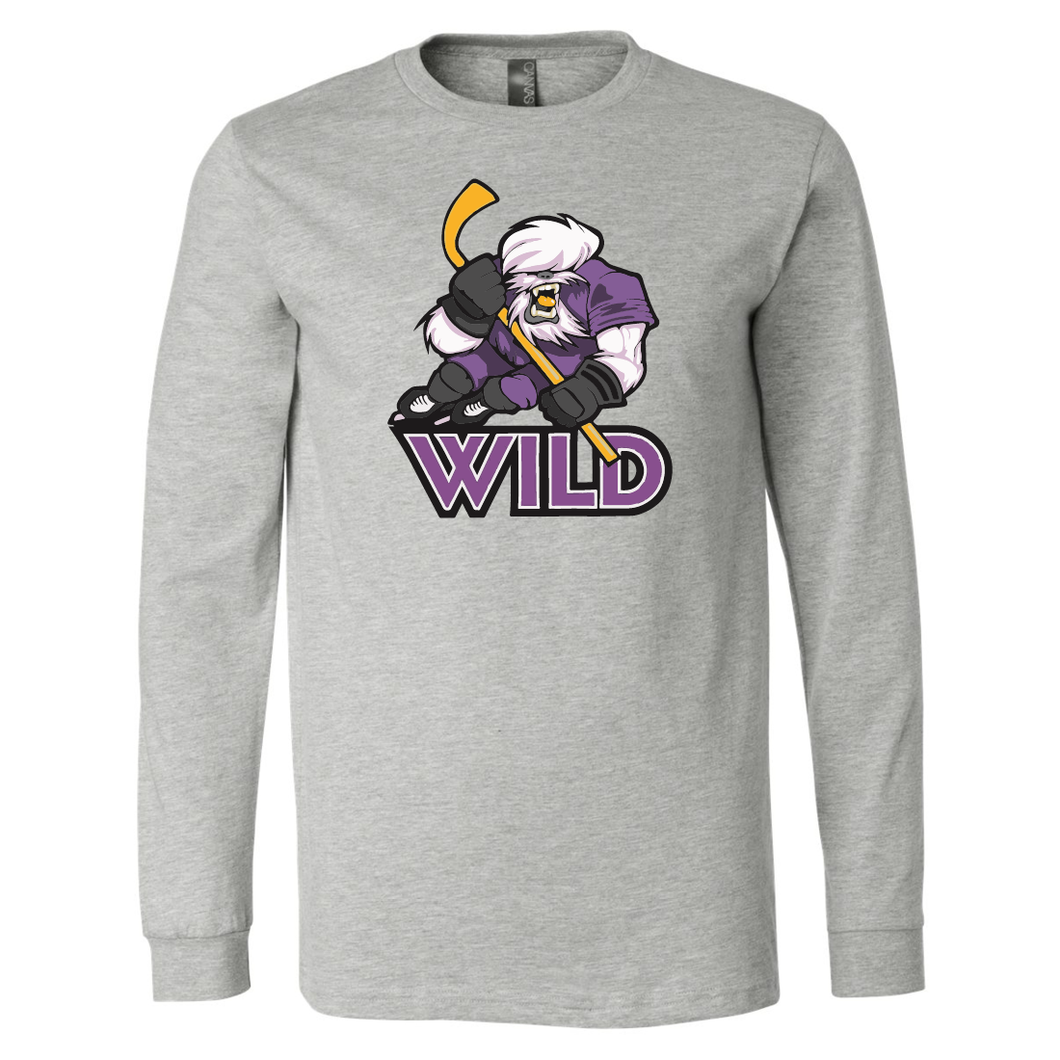 Gillette Wild Jr. Hockey BELLA + CANVAS - Long Sleeve Grey tee