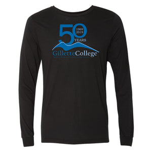 Gillette College 50 Years Bella+Canvas Black Unisex Jersey Long Sleeve Tee