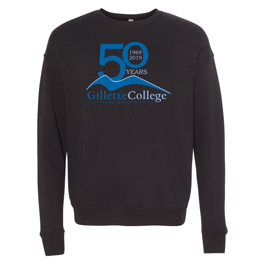 Gillette College 50 Years Bella+Canvas Black Crewneck Sweatshirt