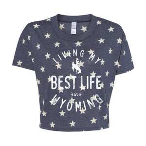 Living My Best Life in Wyoming Steamboat Women's Vintage Stars Cropped Tee
