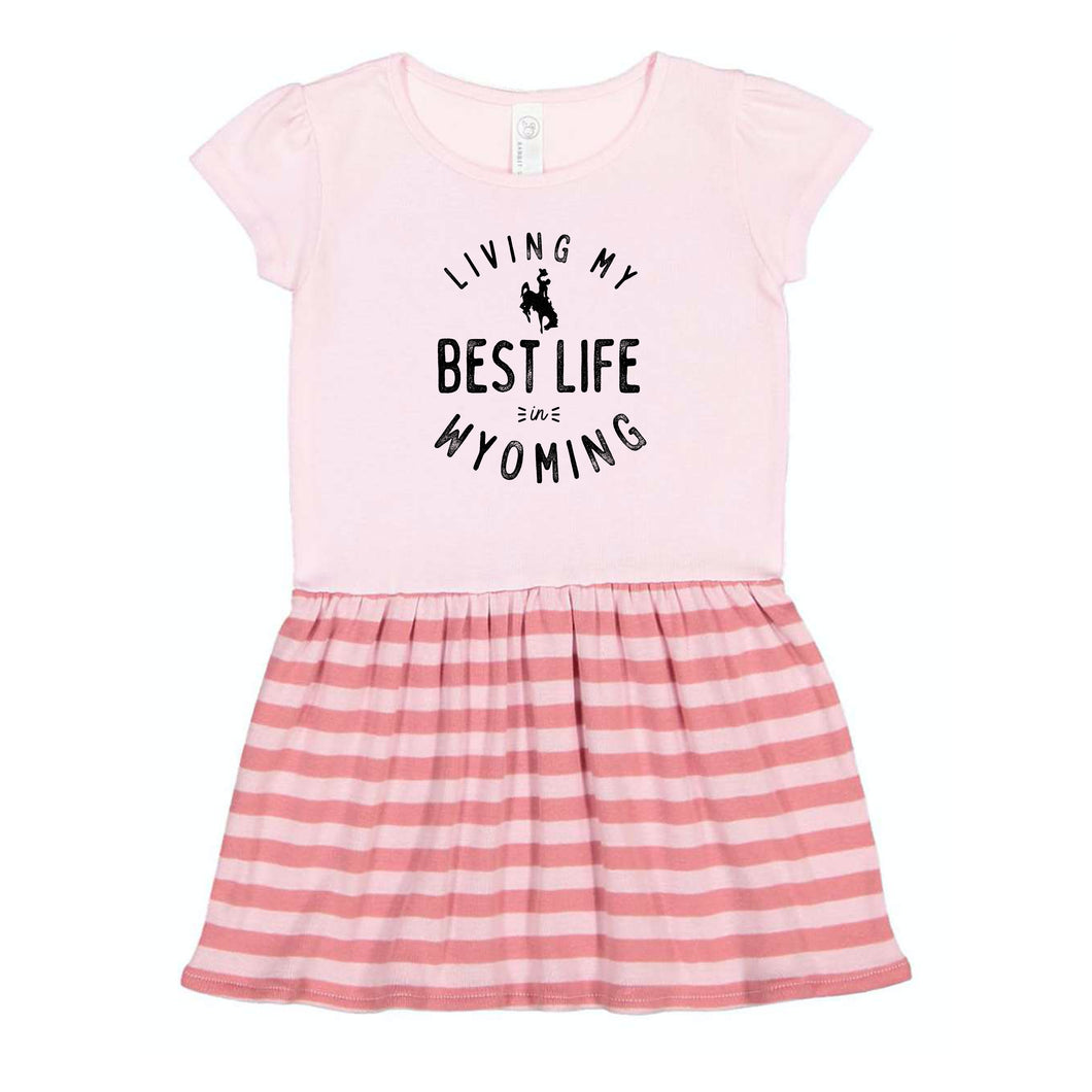 Living My Best Life in Wyoming Steamboat Pink Striped Toddler and Baby Dress