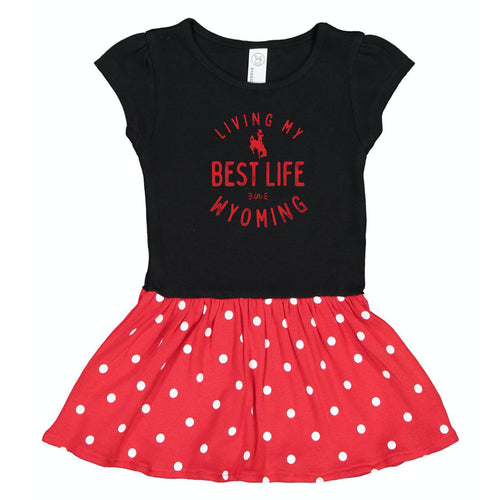Living My Best Life in Wyoming Steamboat Black with Red Polka Dots Toddler and Baby Dress