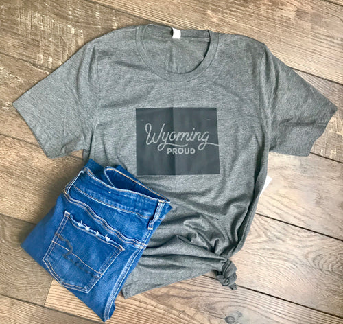 Wyoming Proud Tee in Gray