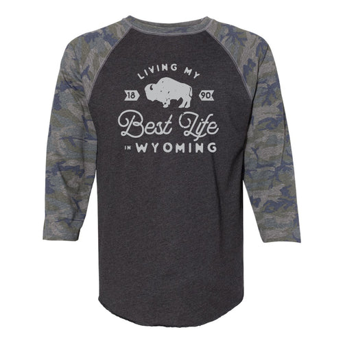 Living My Best Life in Wyoming Camo 3/4 Adult Tee