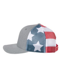 Dad Life Leather Patch Snapback Heather Grey America Flag Hat