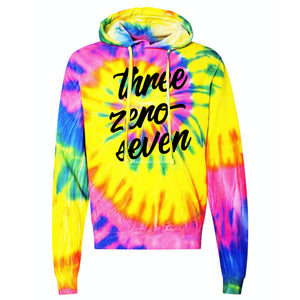 Three Zero Seven Multi-Color Spiral Tie Dye Pullover Hooded Sweatshirt