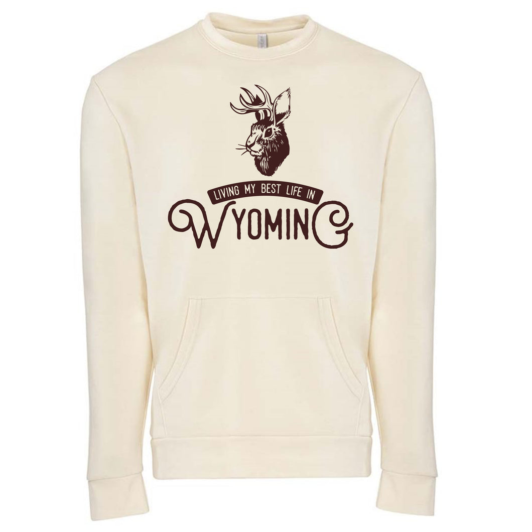 Living My Best Life in Wyoming Jackalope Unisex Crew with Pocket