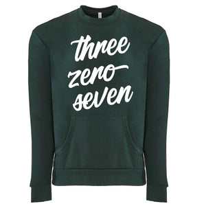 Three Zero Seven - Wyoming Unisex Crew with Pocket in Forest Green
