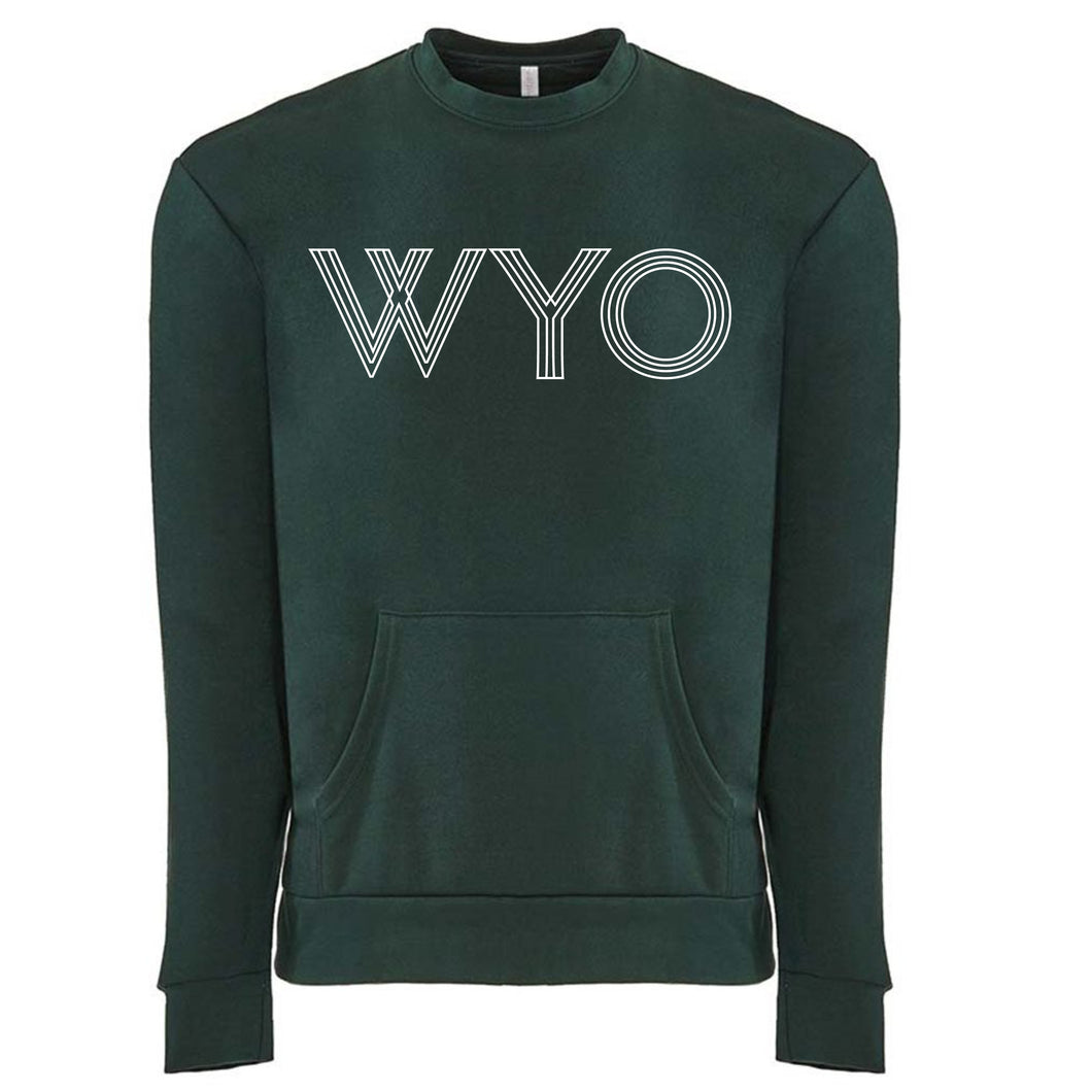 WYO - Wyoming Unisex Crew with Pocket in Forest Green