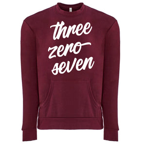 Three Zero Seven - Wyoming Unisex Crew with Pocket in Maroon