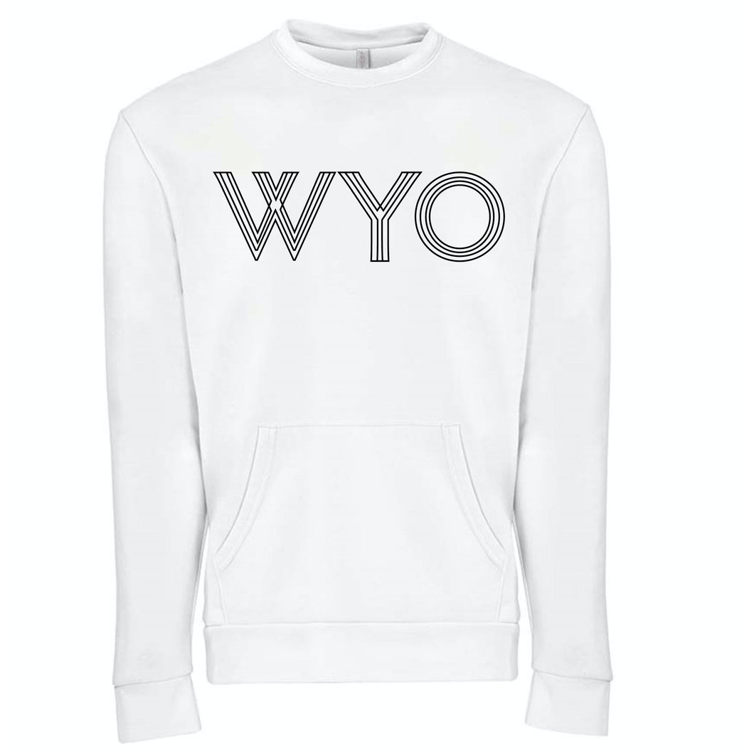 WYO - Wyoming Unisex Crew with Pocket in White
