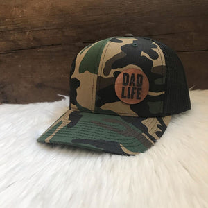 Dad Life Leather Patch Snapback Hat - Camo and Black