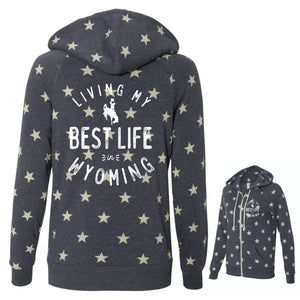 Living My Best Life in Wyoming Steamboat Women's Eco-Fleece Full-Zip Hooded Sweatshirt