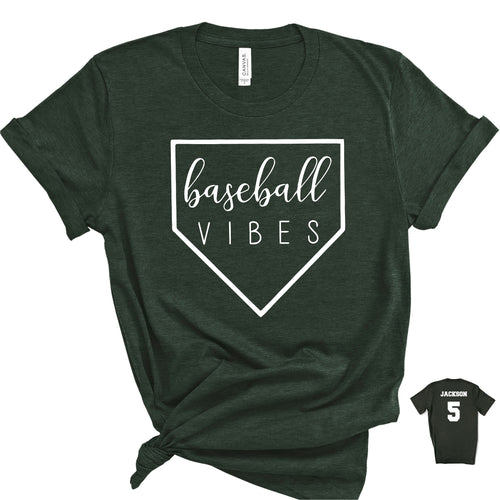 Baseball Vibes Forest Green T-Shirt