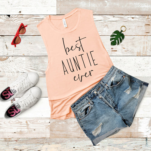 Best Auntie Ever Peach Women's Flowy Scoop Muscle Tank