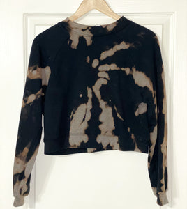 Bleach Dyed Women's cropped Raglan Pullover Fleece