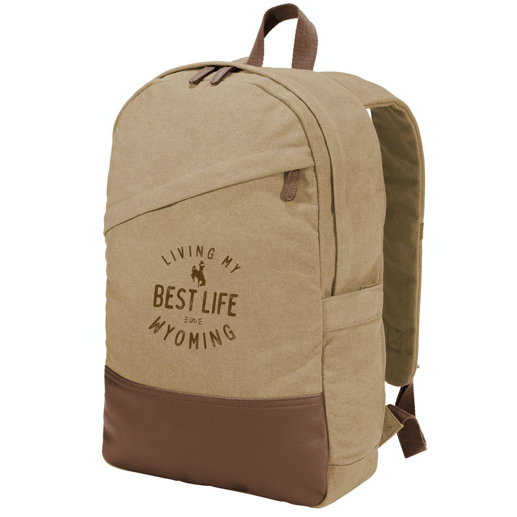 Living My Best life in Wyoming Steamboat Cotton Canvas Backpack