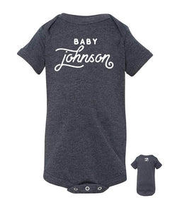 Last Name Baby Announcement – Gray Gender Neutral Baby Onsie