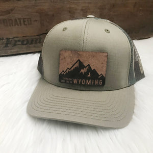 Living My Best Life in Wyoming Leather Patch Snapback Hat