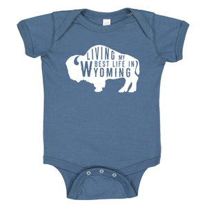 Living My Best Life in Wyoming Buffalo Baby Indigo Onesie