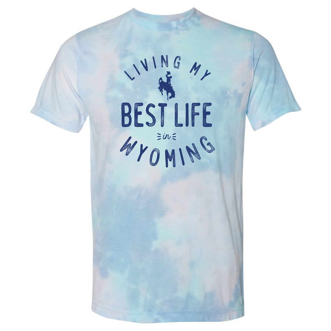 Living My Best Life in Wyoming Steamboat Turquoise Dream Tie Dye T-shirt