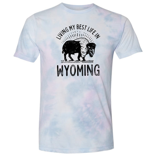 Living My Best Life in Wyoming Purple Dream Tie Dye T-shirt