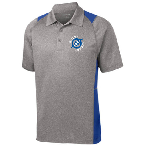 Thunder Basin Bolts Tennis Sport-Tek® Heather Colorblock Contender Polo
