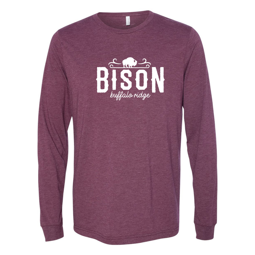 Buffalo Ridge Bison - Adult Long Sleeve Bella+Canvas Heather Maroon Shirt