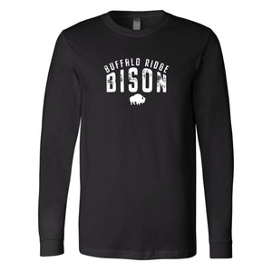 Buffalo Ridge Bison - Adult Long Sleeve Bella+Canvas Black Shirt