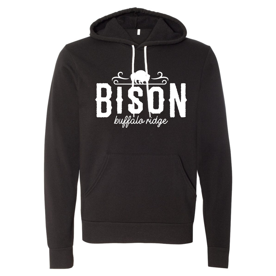 Buffalo Ridge Bison - Bella+Canvas Black Hooded Sweatshirt