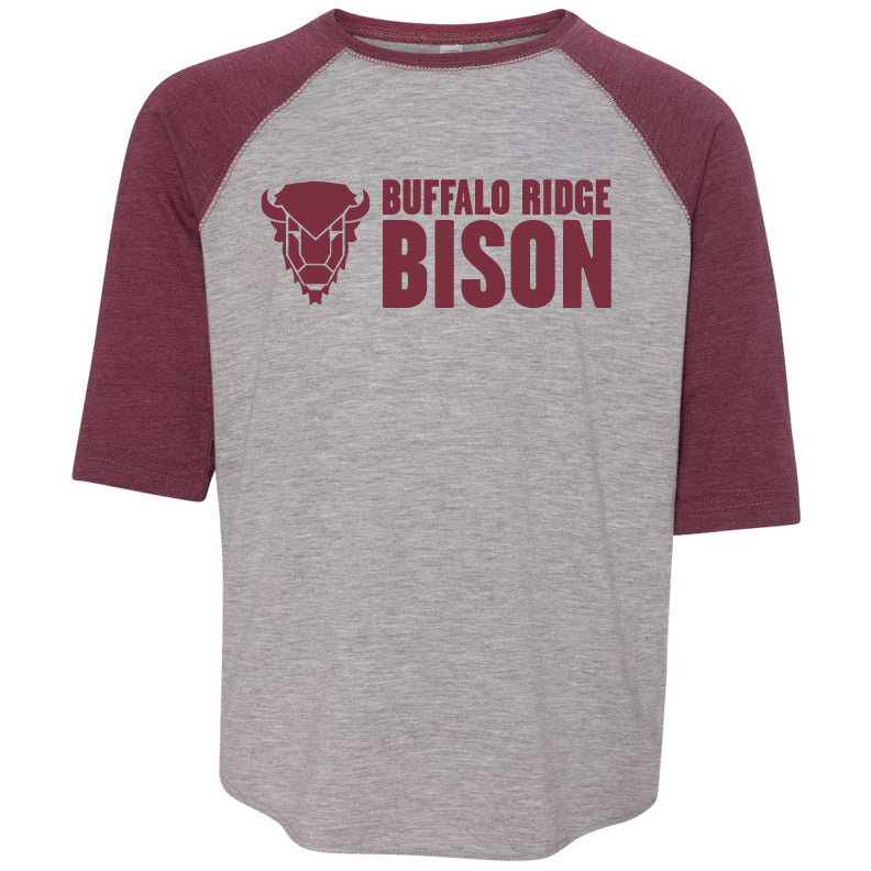 Buffalo Ridge Bison - Youth Three-Quarter Sleeve T-Shirt