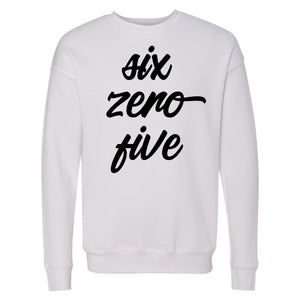 Six Zero Five (605) South Dakota Unisex White Fleece Drop Shoulder Sweatshirt